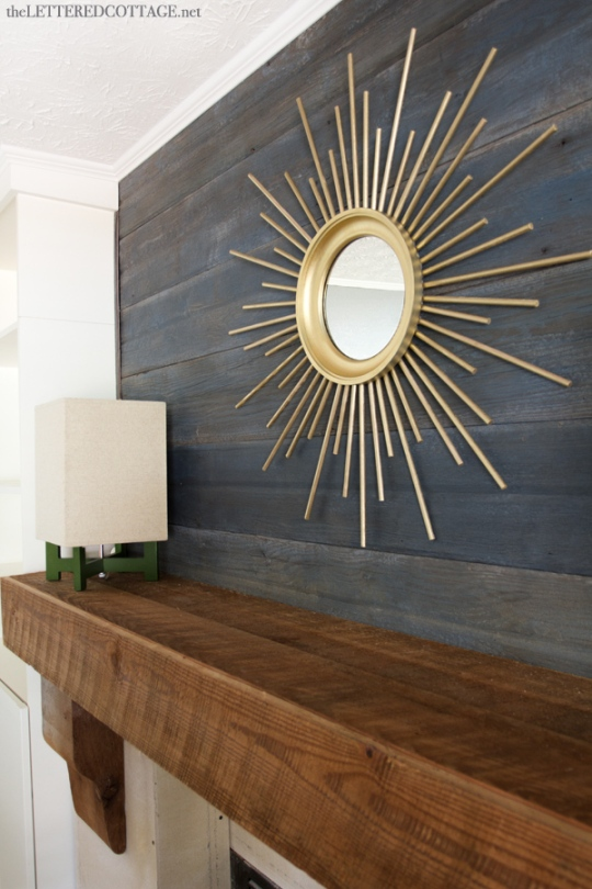 Sunburst-Mirror-Rustic-Beam-Mantel-Fireplace-Makeover